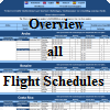 Overview flight schedules by countries and airlines with flight days, flight number and mention nonstop flight.